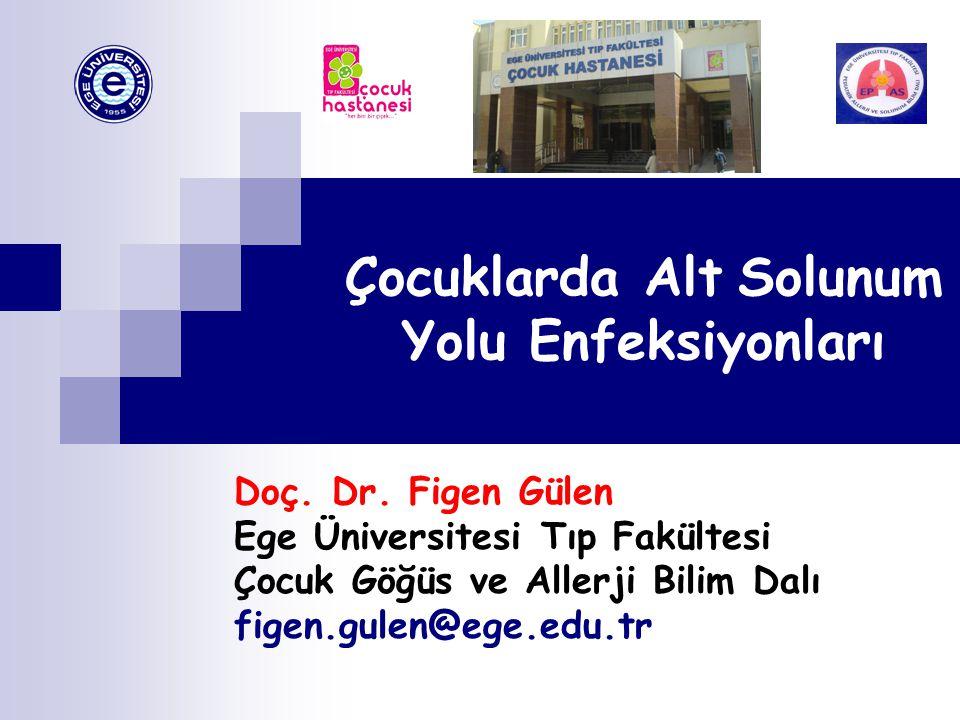 Çocuklarda Alt Solunum Yolu Enfeksiyonları Doç. Dr. Figen Gülen Ege Üniversitesi Tıp Fakültesi Çocuk Göğüs ve Allerji Bilim Dalı figen.gulen@ege.edu.t