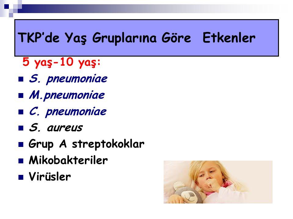 5 yaş-10 yaş: S. pneumoniae M.pneumoniae C. pneumoniae S. aureus Grup A streptokoklar Mikobakteriler Virüsler TKP'de Yaş Gruplarına Göre Etkenler