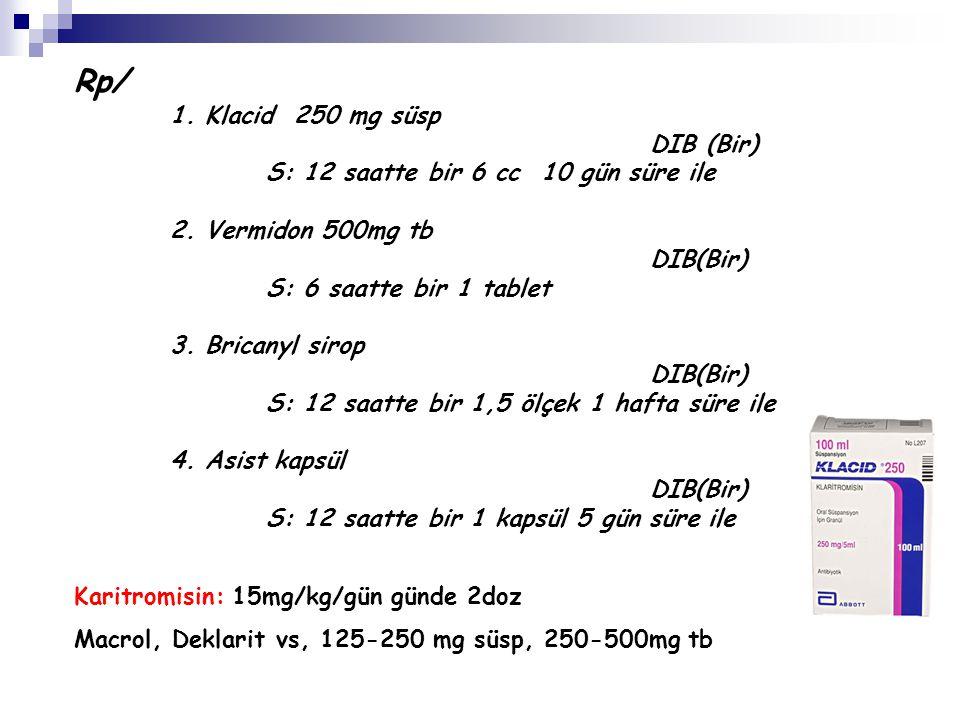 Rp/ 1. Klacid 250 mg süsp DIB (Bir) S: 12 saatte bir 6 cc 10 gün süre ile 2. Vermidon 500mg tb DIB(Bir) S: 6 saatte bir 1 tablet 3. Bricanyl sirop DIB