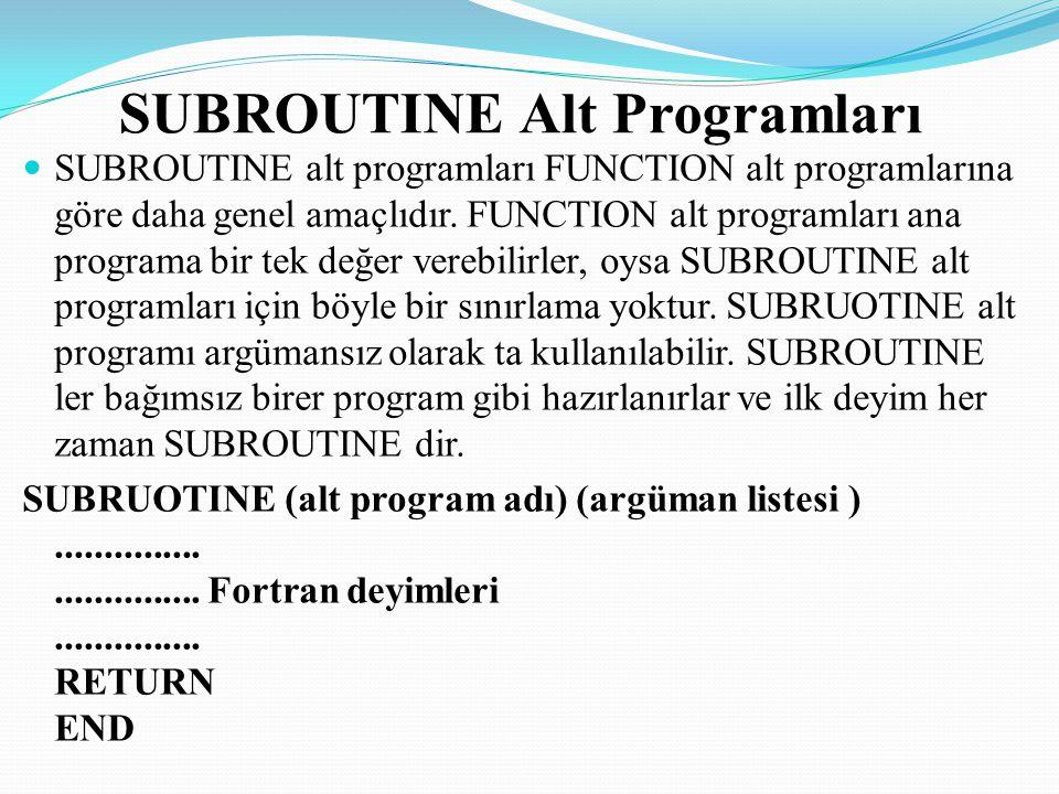 Ana programdan SUBROUTINE alt programına geçiş, CALL deyimi ile sağlanır.