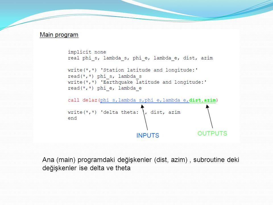 Ana (main) programdaki değişkenler (dist, azim), subroutine deki değişkenler ise delta ve theta