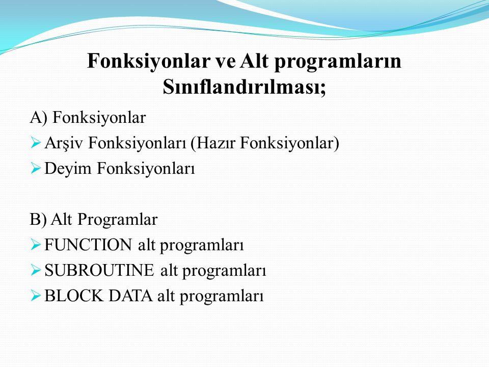 Deyim Fonksiyonları Bir program içerisinde, belli bir fonksiyon veya bir atama komutu bir çok kez tekrarlanıyorsa, deyim fonksiyonları kullanılır.
