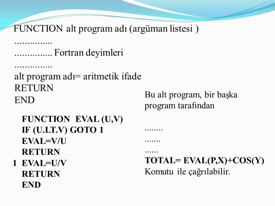 Function Alt Programlarının Kullanılmasında Dikkat Edilecek Noktalar; Function alt programı bir başka alt program veya ana program tarafından çağrılabilir, Function alt programlarında kullanılan değişken isimleri çağıran programdaki değişken isimlerinden tamamen bağımsızdır.