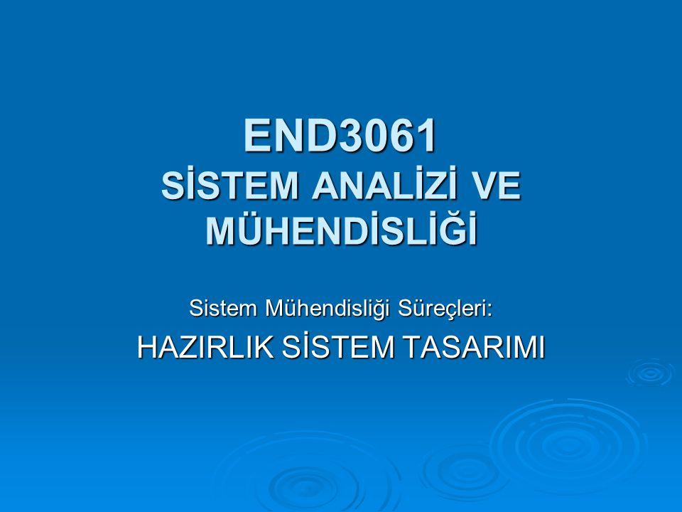 END3061 SİSTEM ANALİZİ VE MÜHENDİSLİĞİ Sistem Mühendisliği Süreçleri: HAZIRLIK SİSTEM TASARIMI