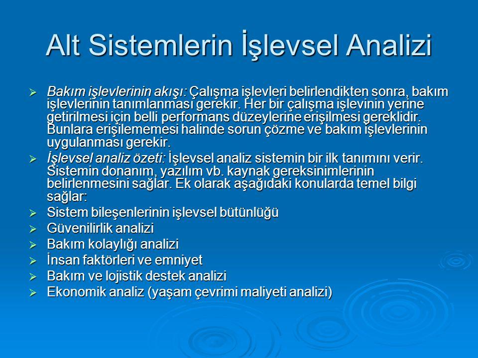 Alt Sistemlerin İşlevsel Analizi  Bakım işlevlerinin akışı: Çalışma işlevleri belirlendikten sonra, bakım işlevlerinin tanımlanması gerekir. Her bir