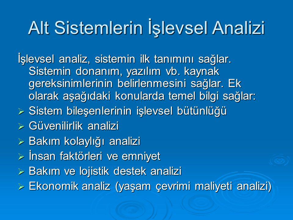 Alt Sistemlerin İşlevsel Analizi İşlevsel analiz, sistemin ilk tanımını sağlar. Sistemin donanım, yazılım vb. kaynak gereksinimlerinin belirlenmesini