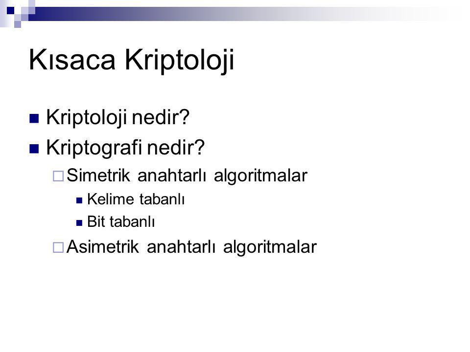 Kısaca Kriptoloji Kriptoloji nedir? Kriptografi nedir?  Simetrik anahtarlı algoritmalar Kelime tabanlı Bit tabanlı  Asimetrik anahtarlı algoritmalar