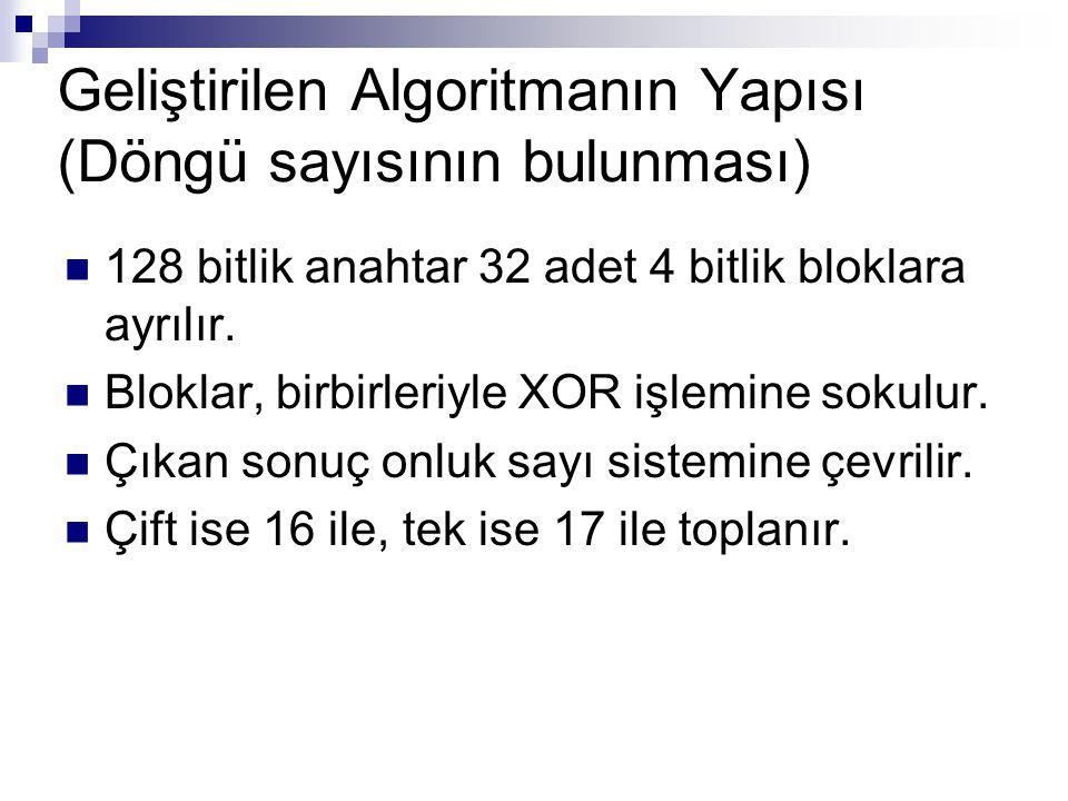 128 bitlik anahtar 32 adet 4 bitlik bloklara ayrılır. Bloklar, birbirleriyle XOR işlemine sokulur. Çıkan sonuç onluk sayı sistemine çevrilir. Çift ise
