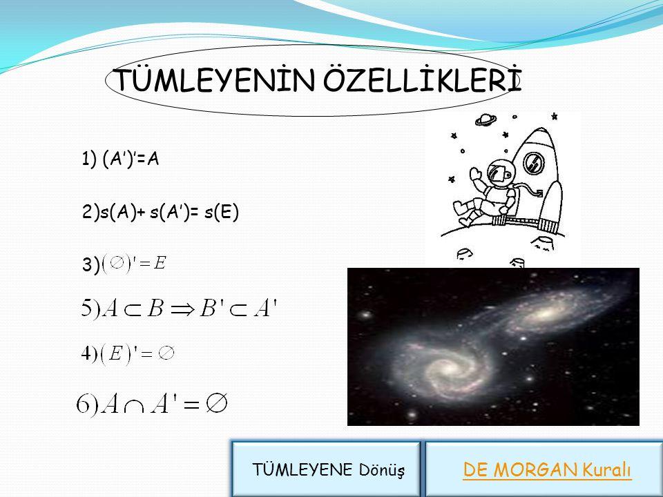 Evrensel küme VE Tümleyen A' E A Üzerinde işlem yapılan tüm kümeleri kapsayan kümeye,evrensel küme denir. Evrensel küme genellikle E harfiyle gösteril
