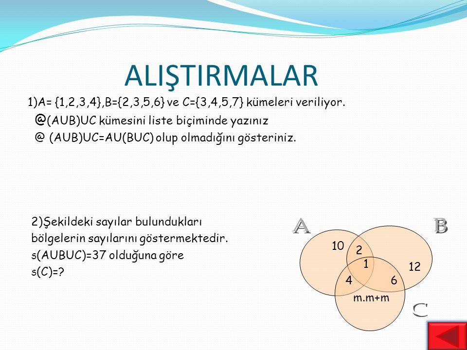 BİRLEŞİM İŞLEMİNİN ÖZELLİKLERİ 1)TEK KUVVET Özelliği : AUA=A 2)DEĞİŞME Özeliği : AUB=BUA 3) BİRLEŞME Özeliği : her A,B,C kümesi için AU(BUC)=(AUB)UC 4