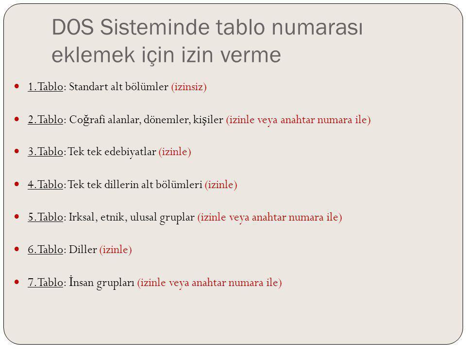 DOS Sisteminde tablo numarası eklemek için izin verme 1.Tablo: Standart alt bölümler (izinsiz) 2.Tablo: Co ğ rafi alanlar, dönemler, ki ş iler (izinle