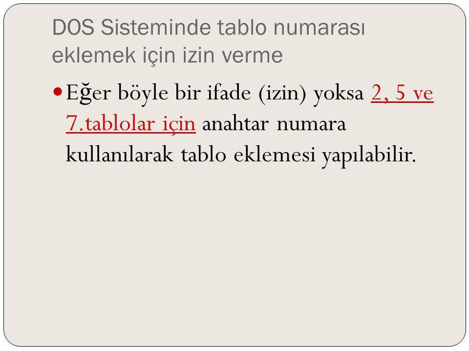 DOS Sisteminde tablo numarası eklemek için izin verme E ğ er böyle bir ifade (izin) yoksa 2, 5 ve 7.tablolar için anahtar numara kullanılarak tablo ek