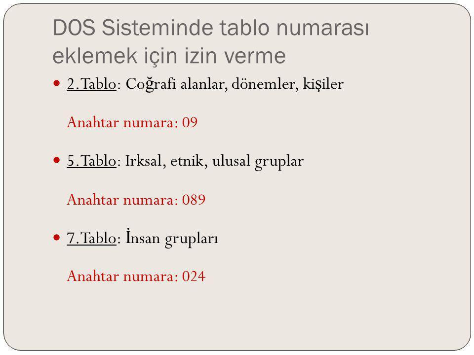 DOS Sisteminde tablo numarası eklemek için izin verme 2.Tablo: Co ğ rafi alanlar, dönemler, ki ş iler Anahtar numara: 09 5.Tablo: Irksal, etnik, ulusa