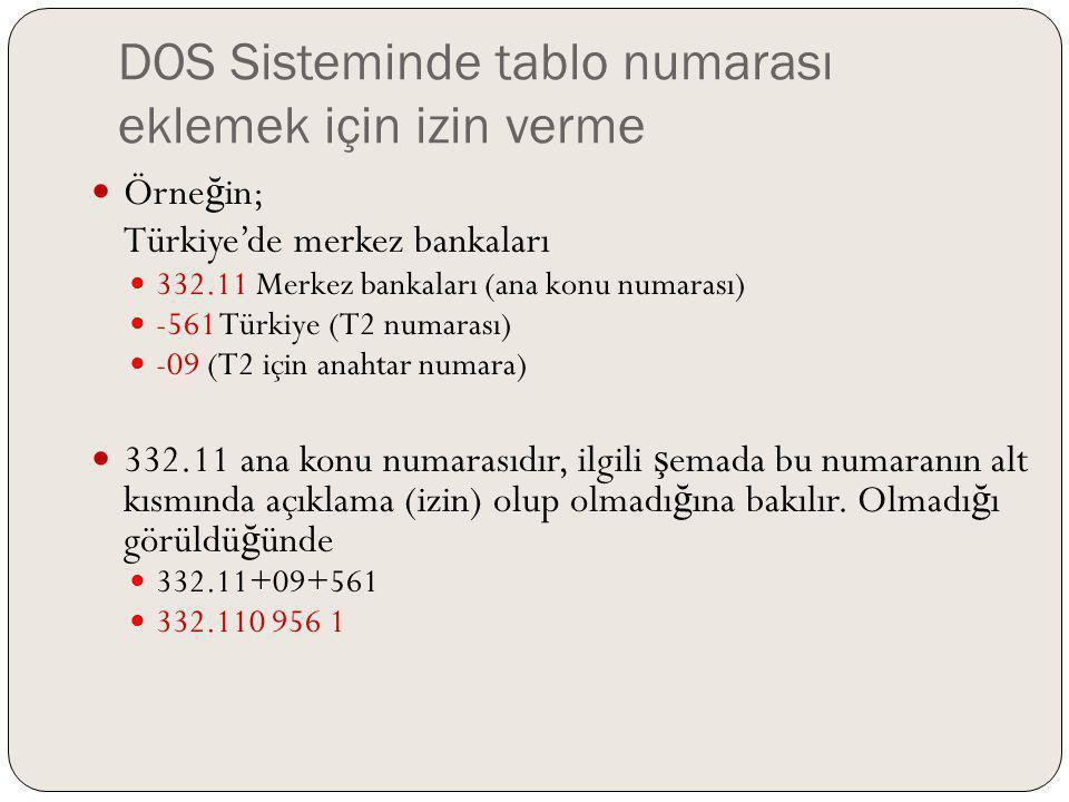 DOS Sisteminde tablo numarası eklemek için izin verme Örne ğ in; Türkiye'de merkez bankaları 332.11 Merkez bankaları (ana konu numarası) -561 Türkiye