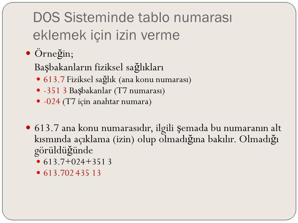 DOS Sisteminde tablo numarası eklemek için izin verme Örne ğ in; Ba ş bakanların fiziksel sa ğ lıkları 613.7 Fiziksel sa ğ lık (ana konu numarası) -35