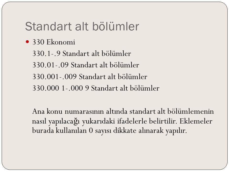 Standart alt bölümler 330 Ekonomi 330.1-.9 Standart alt bölümler 330.01-.09 Standart alt bölümler 330.001-.009 Standart alt bölümler 330.000 1-.000 9