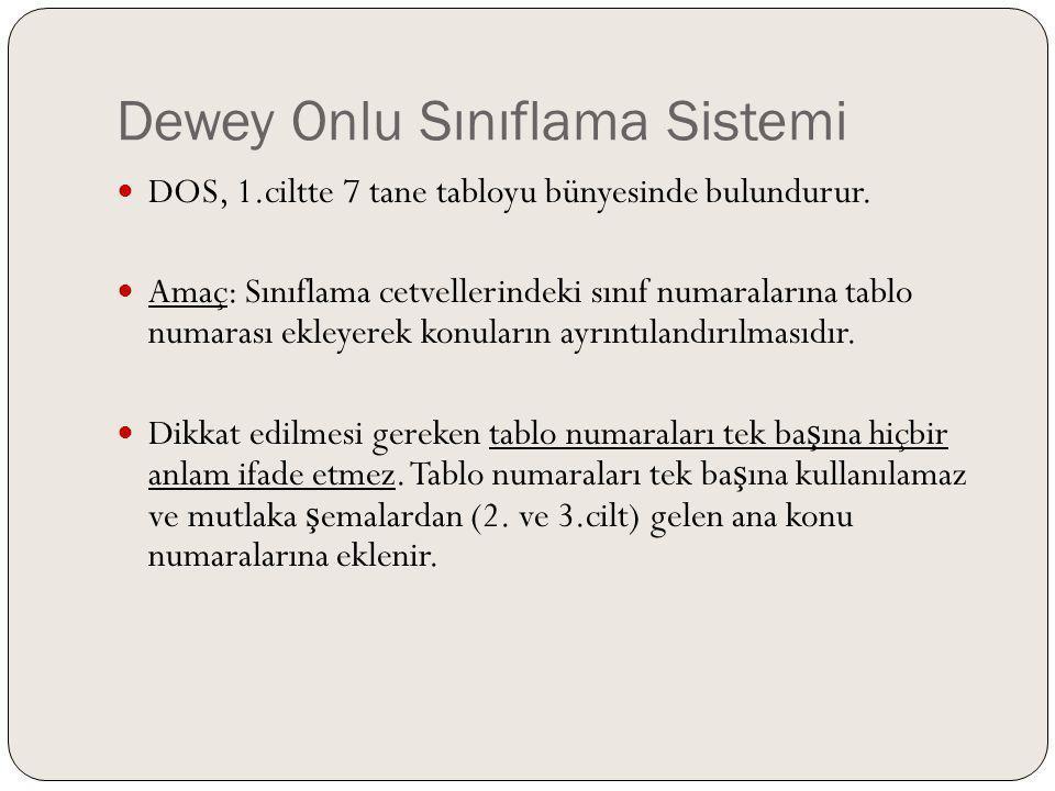 Dewey Onlu Sınıflama Sistemi DOS, 1.ciltte 7 tane tabloyu bünyesinde bulundurur. Amaç: Sınıflama cetvellerindeki sınıf numaralarına tablo numarası ekl