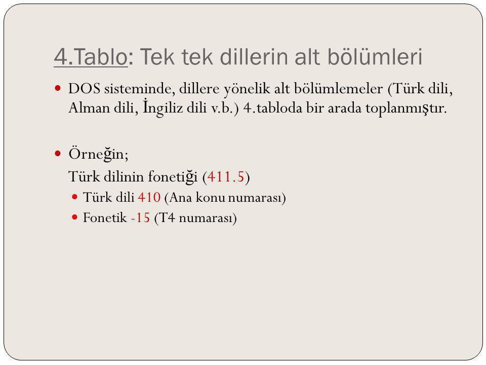 4.Tablo: Tek tek dillerin alt bölümleri DOS sisteminde, dillere yönelik alt bölümlemeler (Türk dili, Alman dili, İ ngiliz dili v.b.) 4.tabloda bir ara