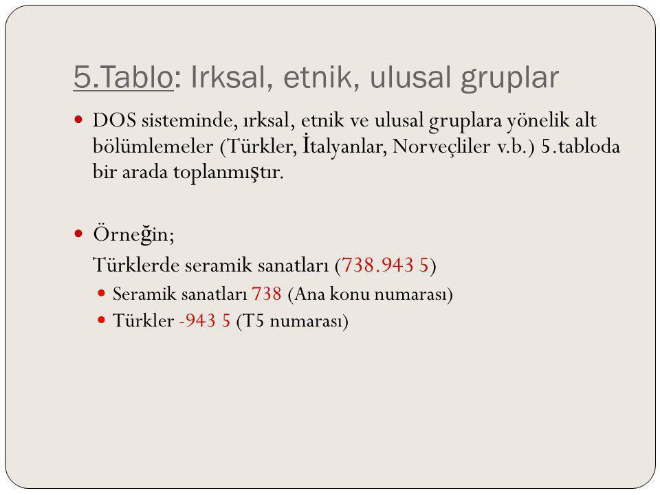 5.Tablo: Irksal, etnik, ulusal gruplar DOS sisteminde, ırksal, etnik ve ulusal gruplara yönelik alt bölümlemeler (Türkler, İ talyanlar, Norveçliler v.