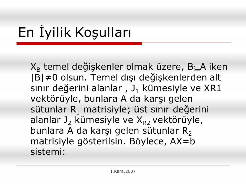 İ.Kara,2007 En İyilik Koşulları X B temel değişkenler olmak üzere, BA iken |B|≠0 olsun.