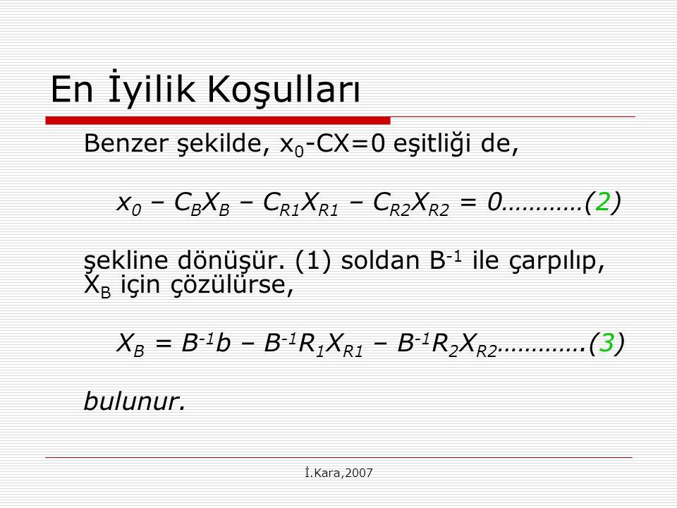 İ.Kara,2007 En İyilik Koşulları Benzer şekilde, x 0 -CX=0 eşitliği de, x 0 – C B X B – C R1 X R1 – C R2 X R2 = 0…………(2) şekline dönüşür.