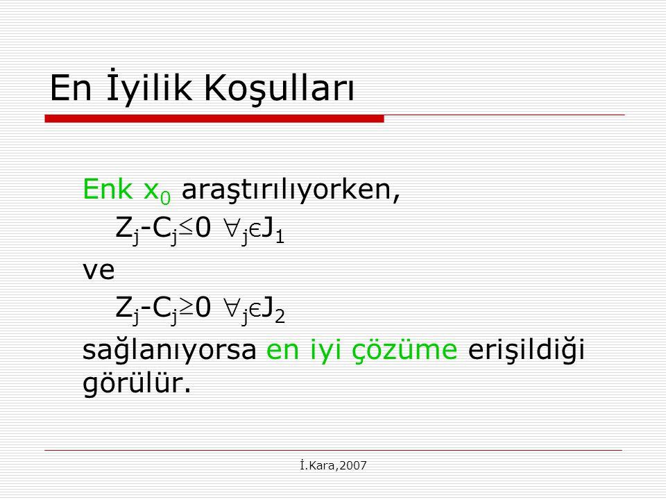İ.Kara,2007 En İyilik Koşulları Enk x 0 araştırılıyorken, Z j -C j ≤ 0  j Є J 1 ve Z j -C j ≥ 0  j Є J 2 sağlanıyorsa en iyi çözüme erişildiği görülür.