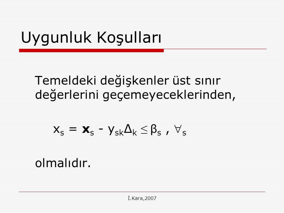 İ.Kara,2007 Uygunluk Koşulları Temeldeki değişkenler üst sınır değerlerini geçemeyeceklerinden, x s = x s - y sk ∆ k ≤ β s,  s olmalıdır.
