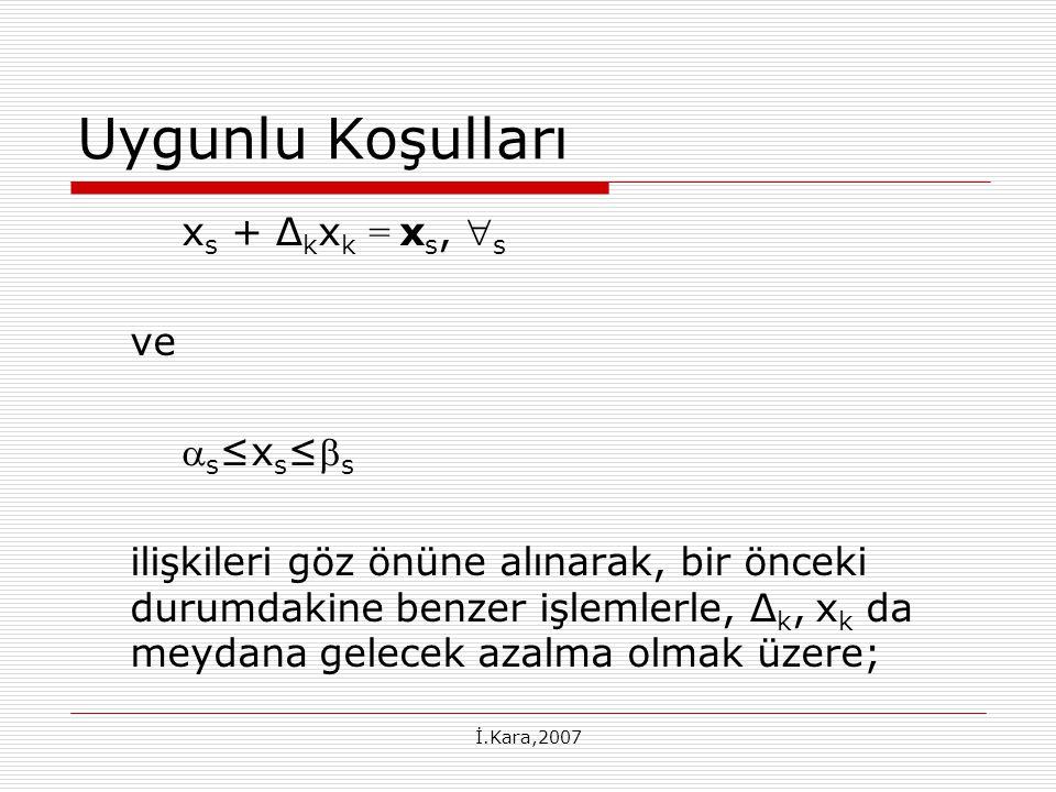 İ.Kara,2007 Uygunlu Koşulları x s + ∆ k x k = x s,  s ve  s ≤x s ≤ s ilişkileri göz önüne alınarak, bir önceki durumdakine benzer işlemlerle, ∆ k, x k da meydana gelecek azalma olmak üzere;