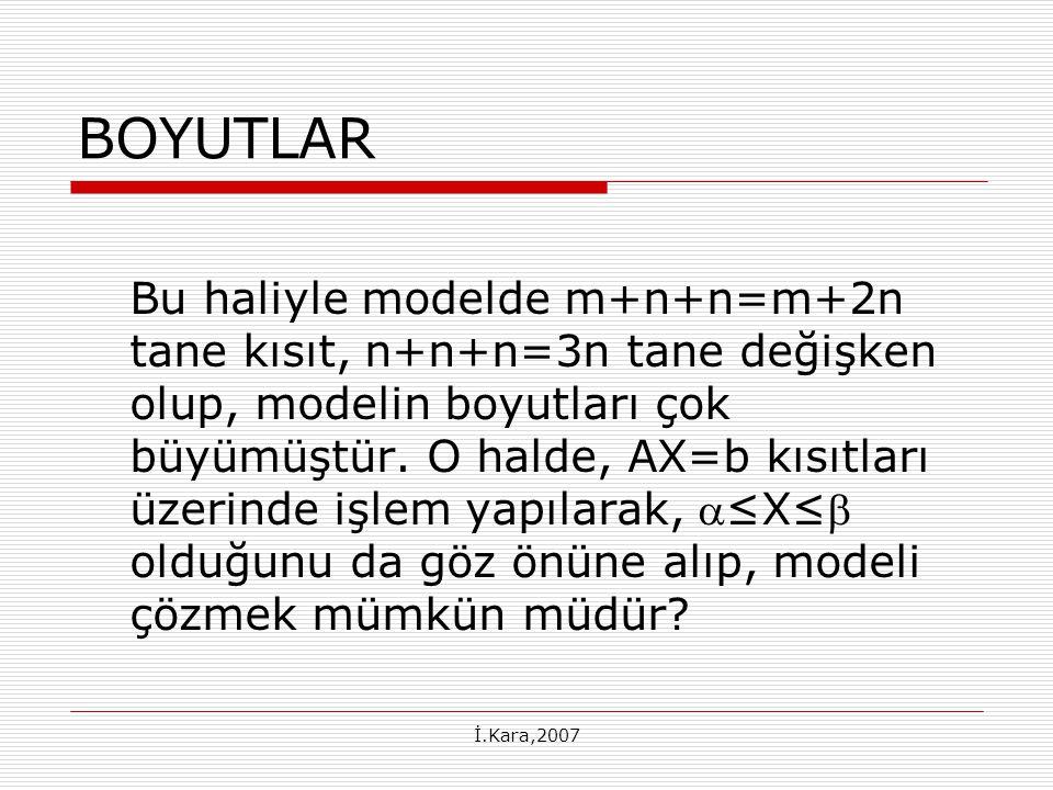 İ.Kara,2007 BOYUTLAR Bu haliyle modelde m+n+n=m+2n tane kısıt, n+n+n=3n tane değişken olup, modelin boyutları çok büyümüştür.