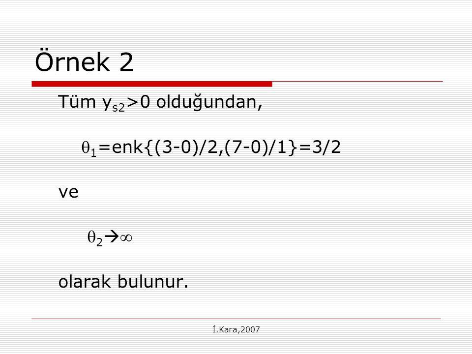 İ.Kara,2007 Örnek 2 Tüm y s2 >0 olduğundan,  1 =enk{(3-0)/2,(7-0)/1}=3/2 ve  2   olarak bulunur.