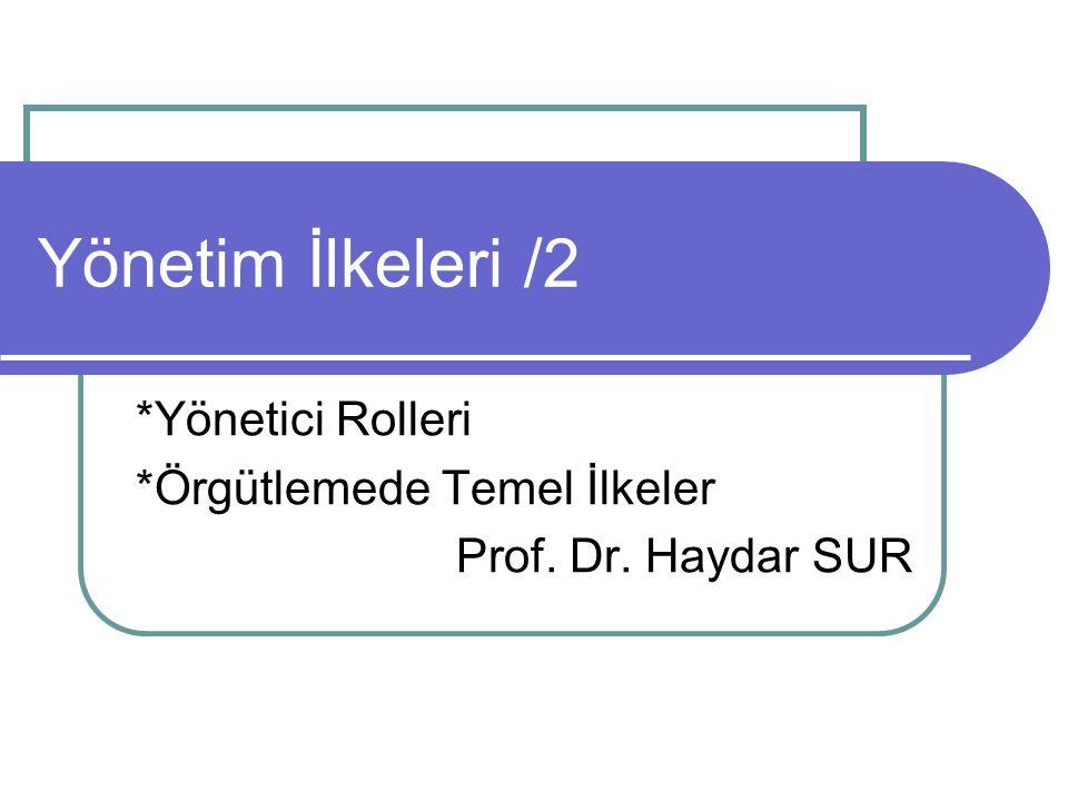 Yönetim İlkeleri /2 *Yönetici Rolleri *Örgütlemede Temel İlkeler Prof. Dr. Haydar SUR