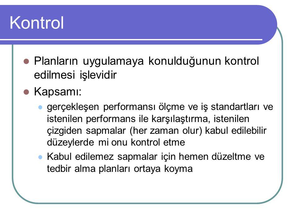 Kontrol Planların uygulamaya konulduğunun kontrol edilmesi işlevidir Kapsamı: gerçekleşen performansı ölçme ve iş standartları ve istenilen performans