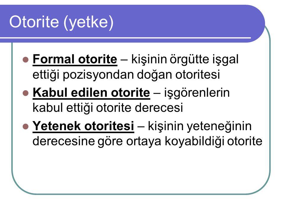Otorite (yetke) Formal otorite – kişinin örgütte işgal ettiği pozisyondan doğan otoritesi Kabul edilen otorite – işgörenlerin kabul ettiği otorite der