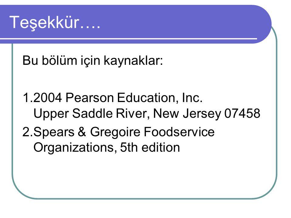 Teşekkür…. Bu bölüm için kaynaklar: 1.2004 Pearson Education, Inc. Upper Saddle River, New Jersey 07458 2.Spears & Gregoire Foodservice Organizations,