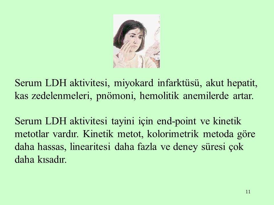 11 Serum LDH aktivitesi, miyokard infarktüsü, akut hepatit, kas zedelenmeleri, pnömoni, hemolitik anemilerde artar. Serum LDH aktivitesi tayini için e