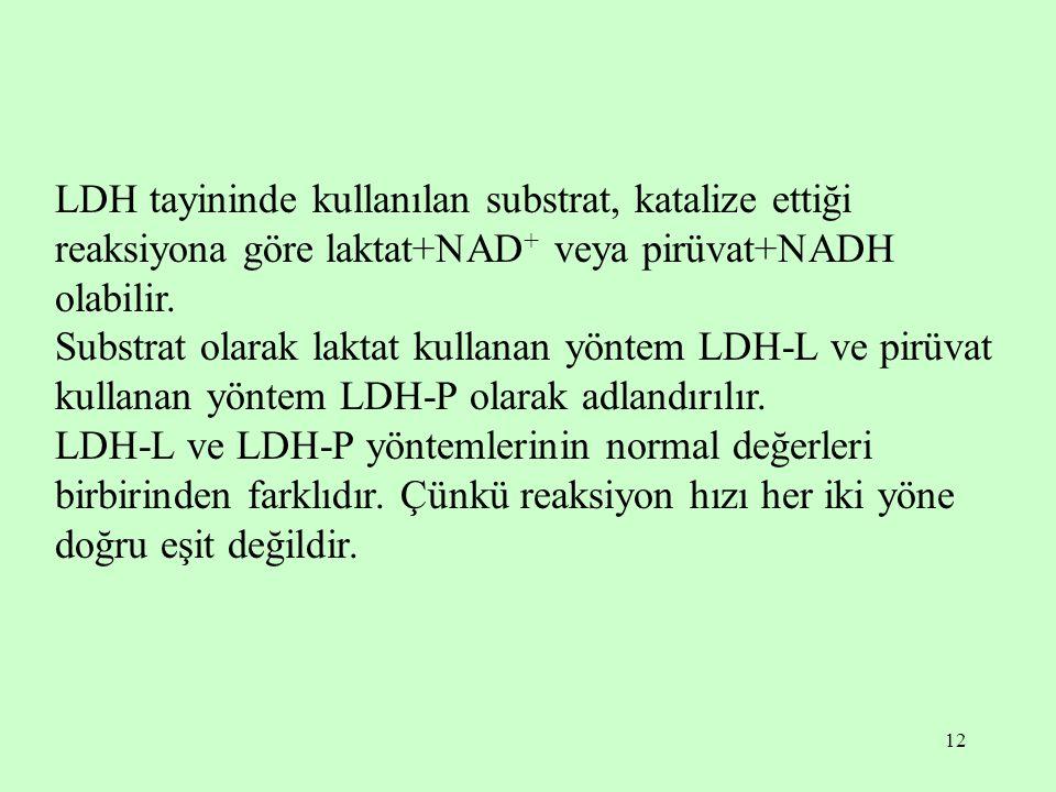 12 LDH tayininde kullanılan substrat, katalize ettiği reaksiyona göre laktat+NAD + veya pirüvat+NADH olabilir. Substrat olarak laktat kullanan yöntem