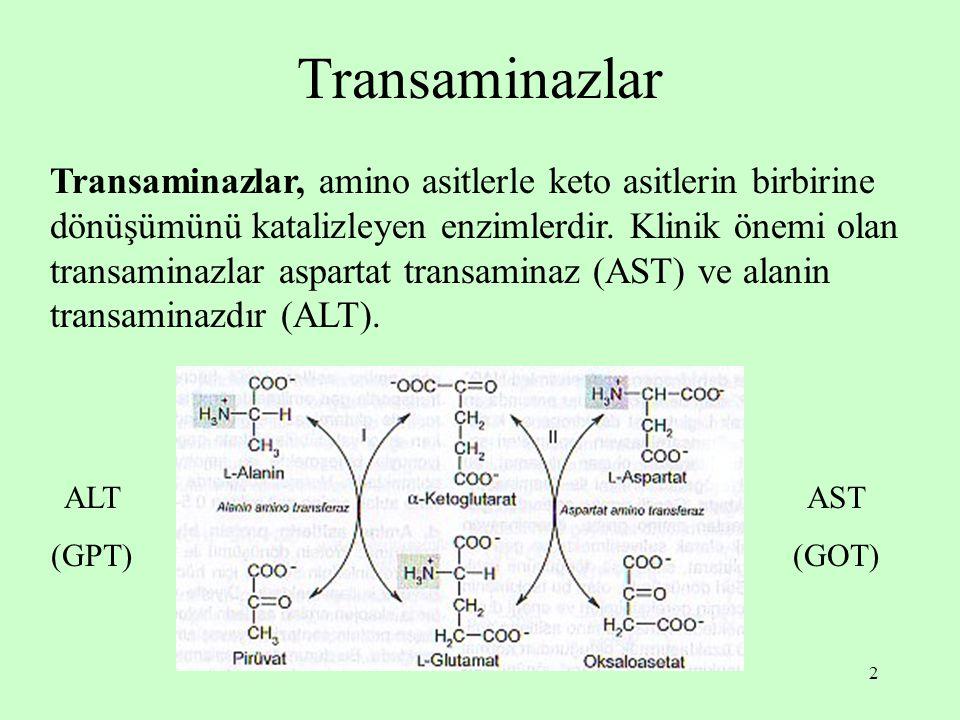 2 Transaminazlar Transaminazlar, amino asitlerle keto asitlerin birbirine dönüşümünü katalizleyen enzimlerdir. Klinik önemi olan transaminazlar aspart