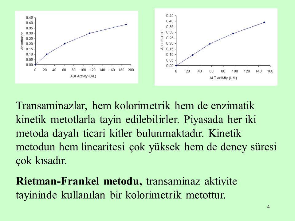 4 Transaminazlar, hem kolorimetrik hem de enzimatik kinetik metotlarla tayin edilebilirler. Piyasada her iki metoda dayalı ticari kitler bulunmaktadır