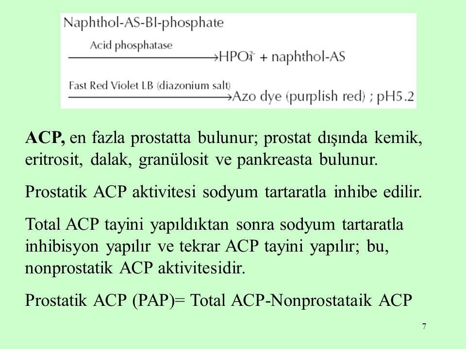 7 ACP, en fazla prostatta bulunur; prostat dışında kemik, eritrosit, dalak, granülosit ve pankreasta bulunur. Prostatik ACP aktivitesi sodyum tartarat