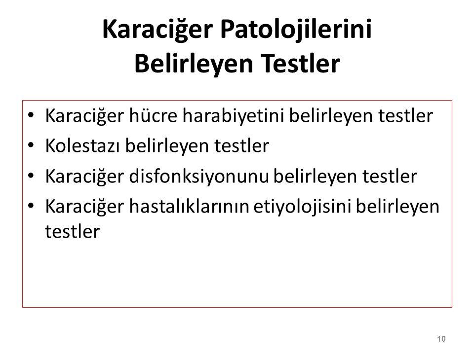10 Karaciğer Patolojilerini Belirleyen Testler Karaciğer hücre harabiyetini belirleyen testler Kolestazı belirleyen testler Karaciğer disfonksiyonunu