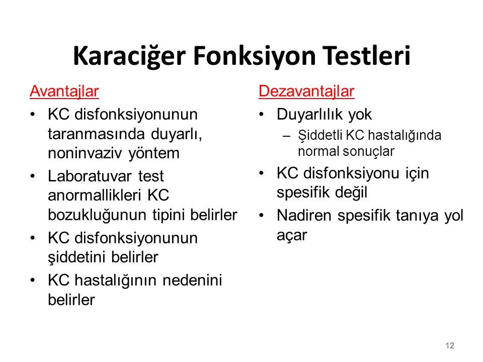 Avantajlar KC disfonksiyonunun taranmasında duyarlı, noninvaziv yöntem Laboratuvar test anormallikleri KC bozukluğunun tipini belirler KC disfonksiyon
