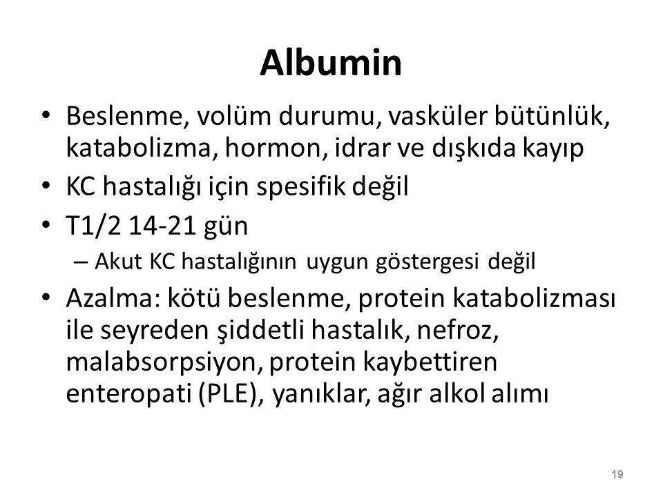 Albumin Beslenme, volüm durumu, vasküler bütünlük, katabolizma, hormon, idrar ve dışkıda kayıp KC hastalığı için spesifik değil T1/2 14-21 gün – Akut