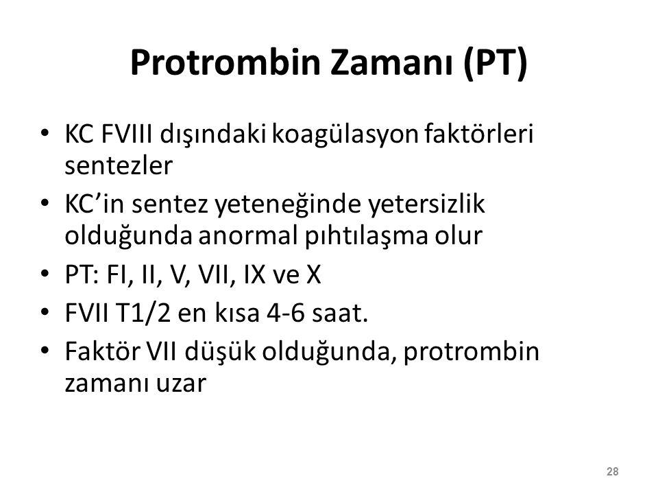 Protrombin Zamanı (PT) KC FVIII dışındaki koagülasyon faktörleri sentezler KC'in sentez yeteneğinde yetersizlik olduğunda anormal pıhtılaşma olur PT: