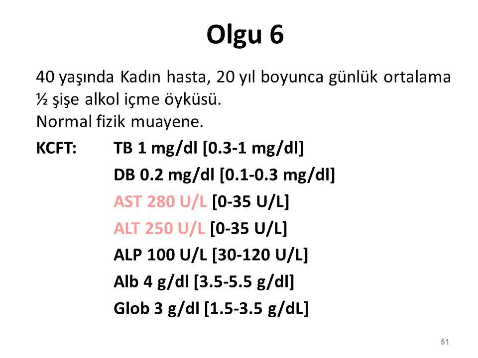 Olgu 6 40 yaşında Kadın hasta, 20 yıl boyunca günlük ortalama ½ şişe alkol içme öyküsü. Normal fizik muayene. KCFT:TB 1 mg/dl [0.3-1 mg/dl] DB 0.2 mg/