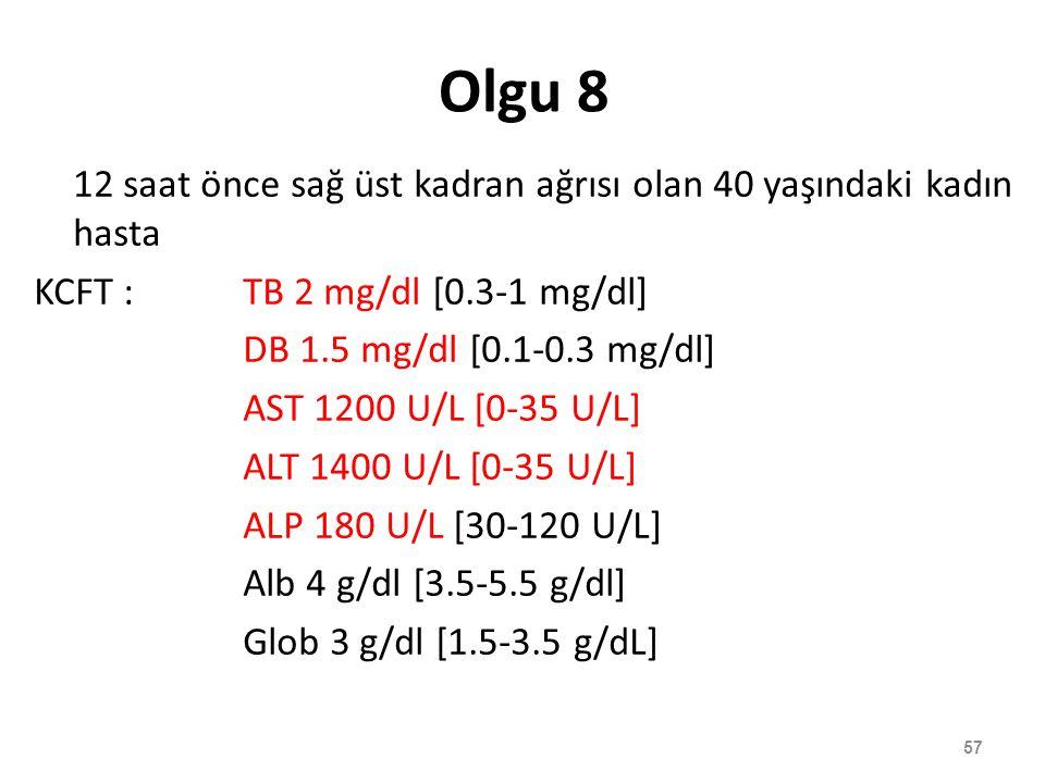 Olgu 8 12 saat önce sağ üst kadran ağrısı olan 40 yaşındaki kadın hasta KCFT :TB 2 mg/dl [0.3-1 mg/dl] DB 1.5 mg/dl [0.1-0.3 mg/dl] AST 1200 U/L [0-35