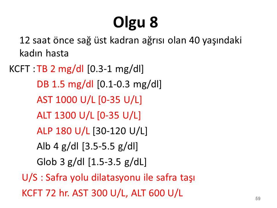 Olgu 8 12 saat önce sağ üst kadran ağrısı olan 40 yaşındaki kadın hasta KCFT :TB 2 mg/dl [0.3-1 mg/dl] DB 1.5 mg/dl [0.1-0.3 mg/dl] AST 1000 U/L [0-35