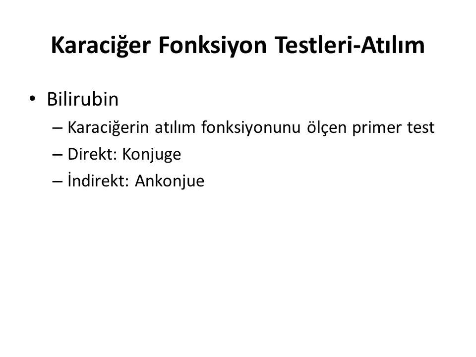 Karaciğer Fonksiyon Testleri-Atılım Bilirubin – Karaciğerin atılım fonksiyonunu ölçen primer test – Direkt: Konjuge – İndirekt: Ankonjue