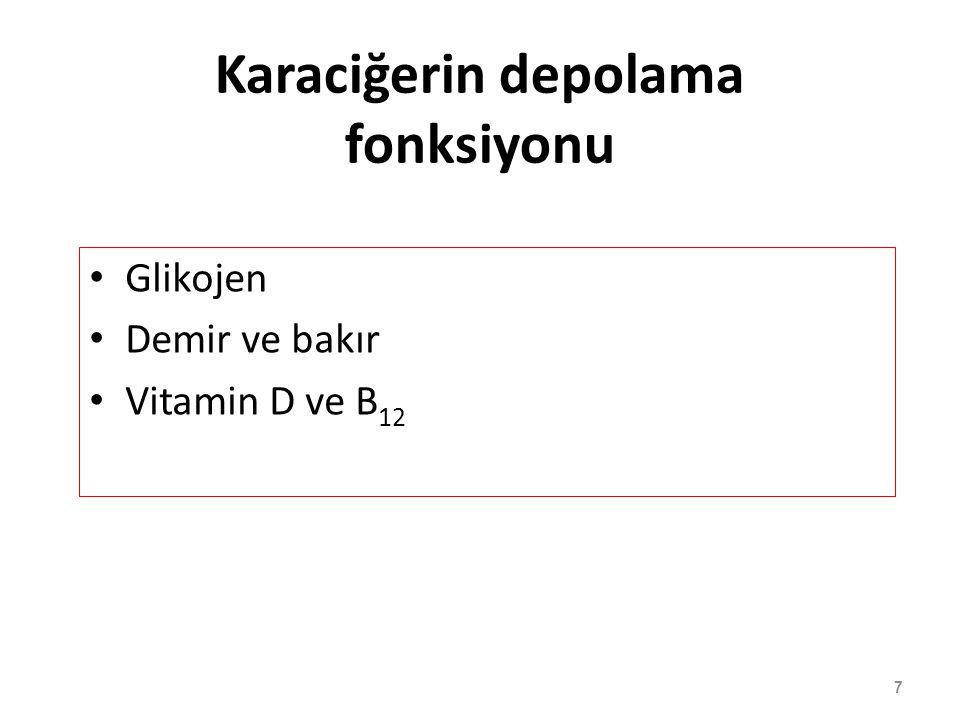 7 Karaciğerin depolama fonksiyonu Glikojen Demir ve bakır Vitamin D ve B 12