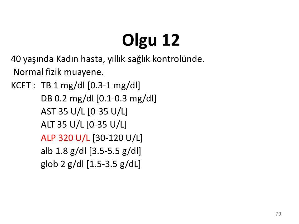 Olgu 12 40 yaşında Kadın hasta, yıllık sağlık kontrolünde. Normal fizik muayene. KCFT : TB 1 mg/dl [0.3-1 mg/dl] DB 0.2 mg/dl [0.1-0.3 mg/dl] AST 35 U