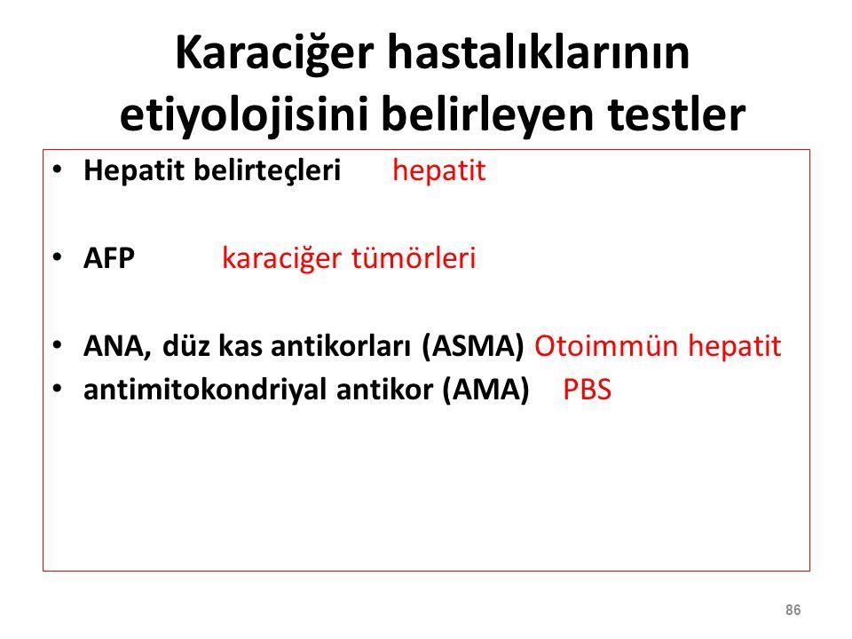 86 Karaciğer hastalıklarının etiyolojisini belirleyen testler Hepatit belirteçlerihepatit AFP karaciğer tümörleri ANA, düz kas antikorları (ASMA) Otoi